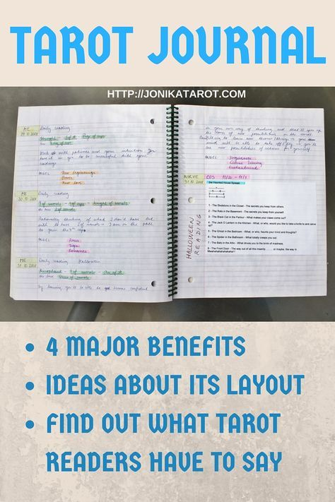 TAROT JOURNAL - 4 Major Benefits of Keeping a Tarot Journal; Different Layouts; Printable Tarot Deck; Find Out What Other Readers Say. http://jonikatarot.com Pin it! Like the article? Post your thoughts below! Do you have a Tarot Journal? Does it help you on your journey?