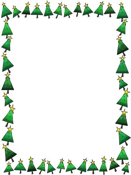 Hoja en blanco para dibujar o escribir con marco de árboles de navidad