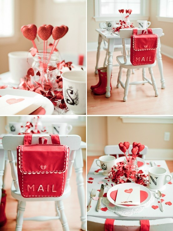 Valentines Party, cute Valentine holders on chair backs!