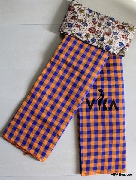 Poly cotton checked saree