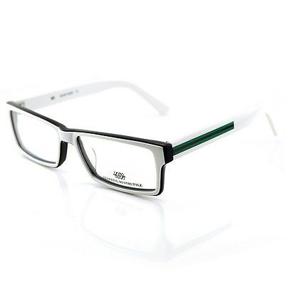 New Rectangle Black White Eyeglasses Mens Optical Glasses ...