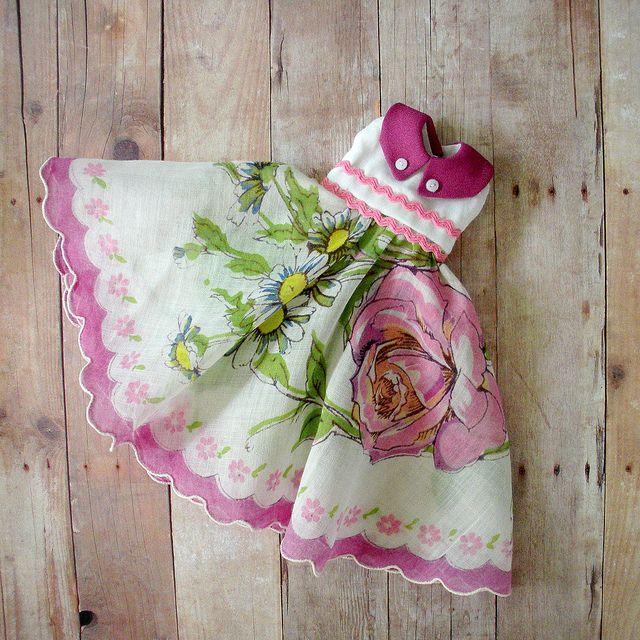 A vintage hankerchief doll's dress