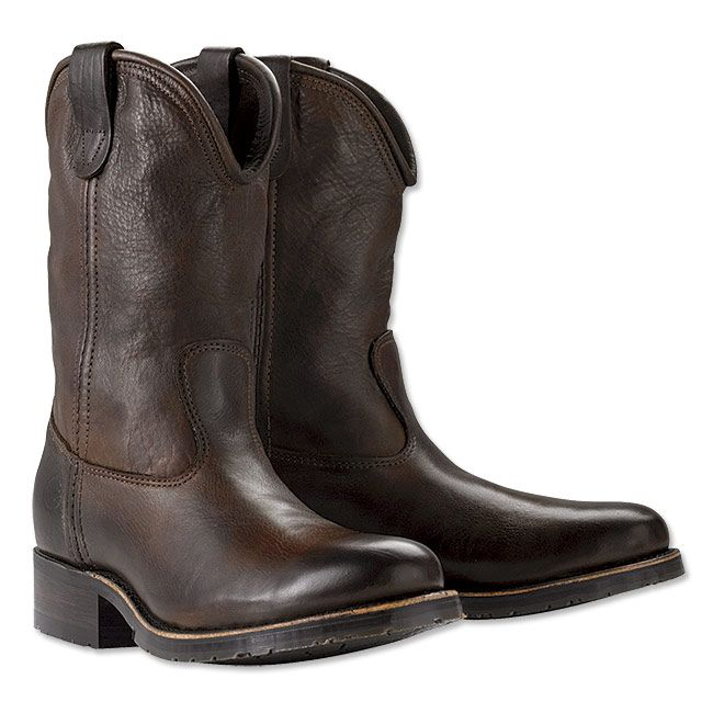 "Some of the softest oil-tanned leather we've ever laid hands on, combined with durable American craftsmanship, makes this rugged pair of cowboy roper boots a favorite for years to come. Flexible rubber outsole. Leather cowboy roper boots in brown. Genuine leather. Made in USA. <br />Whole and half sizes: 8-12. About 13"" high."