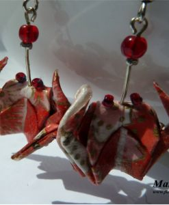 Red crab origami earrings.