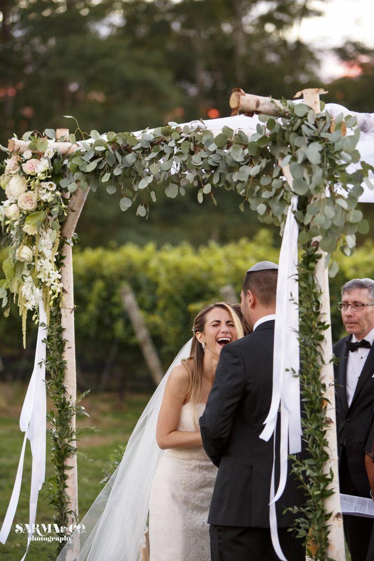 Roses and Rice-Flowers Chuppah Flowers Eucalyptus, Garden Roses Birch Arch Rustic Wedding