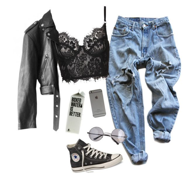 """tonight will be alright"" by chanelandcoke ❤ liked on Polyvore featuring Levi's, Jean-Paul Gaultier, Converse and Retrò"