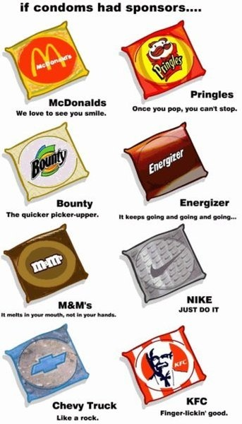 if condoms had corporate sponsors... so inappropriate :): Laughing, Funnies Pictures, Hilary, Giggl, Humor, Sponsor, Random Stuff, Fast Food, Funnies Stuff