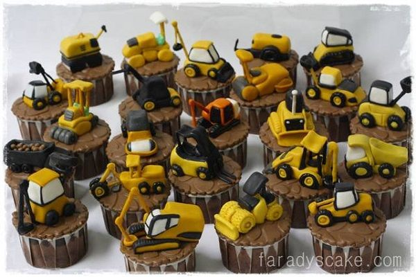 Cupcakes Topped with Mini Construction Vehicles & other Construction- Themed Cakes and Cupcakes !