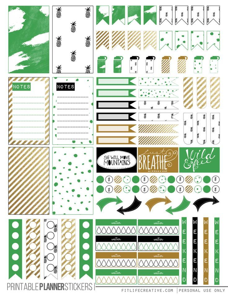 Kate Spade Inspired Green and Gold Happy Planner Stickers - FREE