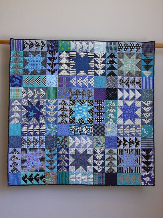 Black And White And Blue All Over wall quilt by Tina Curran - a different twist on a blue & white quilt