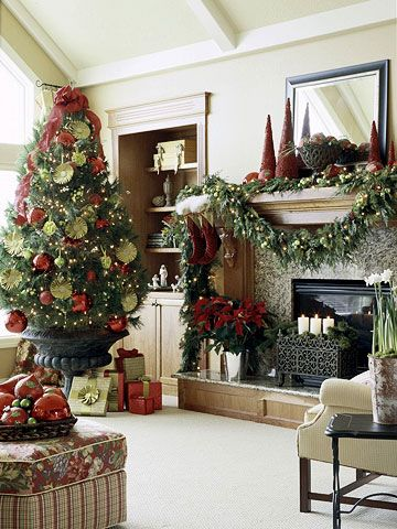 Give a squat tree height by placing it in a large urn. Bonus: This also leaves the most under-bough room for beautifully wrapped gifts. Chartreuse pinwheel ribbons add a celebratory touch.