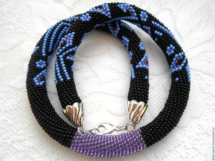 """Купить Жгут из бисера """"Вечер"""" - комбинированный, черный, голубой, стильное колье, стильный подарок"""