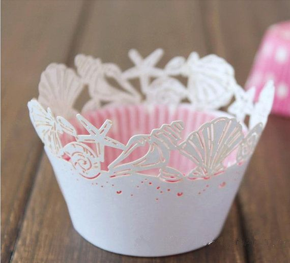 Beach Themed Wedding Starfish Sea Shells Cupcake Wrappers Cases Liners Bridal Party Wedding Cake Decoration 24pcs on Etsy, $13.00