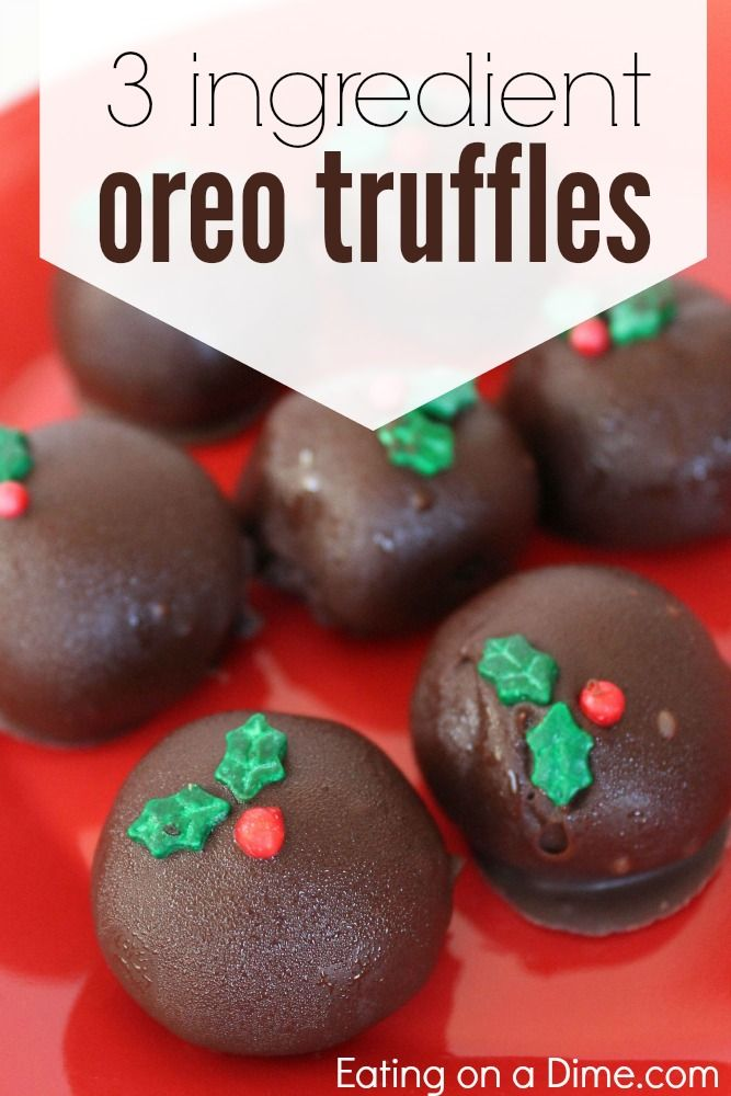 Try this delicious 3 Ingredient Oreo Truffles Recipe. You really only need 3 ingredients to make an amazing treat this holiday. - Eating on a Dime