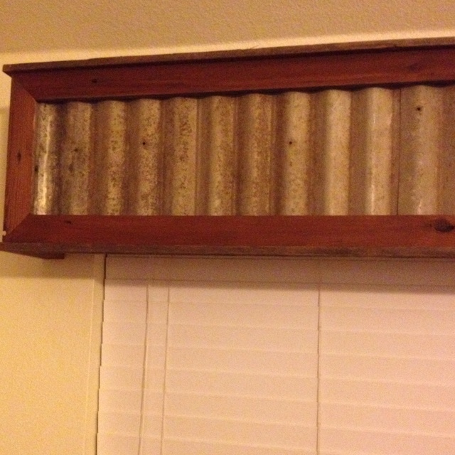 Our window treatment: cedar frame with repurposed tin inserts.  Love it. Thanks Mike!
