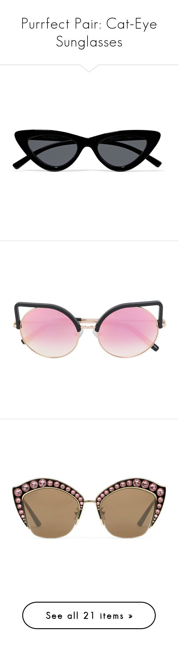 """""""Purrfect Pair: Cat-Eye Sunglasses"""" by polyvore-editorial ❤ liked on Polyvore featuring cateyesunglasses, accessories, eyewear, sunglasses, glasses, black, cat eye sunnies, uv protection sunglasses, cat-eye glasses and dot sunglasses"""