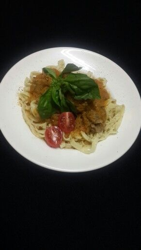 Freshly made Fettuccine with Meatballs and Napolitana sauce