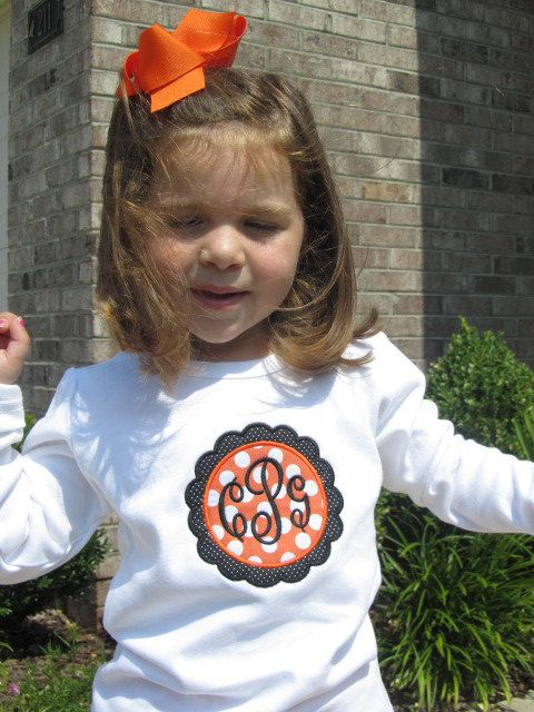 Personalized Scalloped Monogram Shirt Halloween Orange Ta Dot and Black or Brown. $20.00, via Etsy.