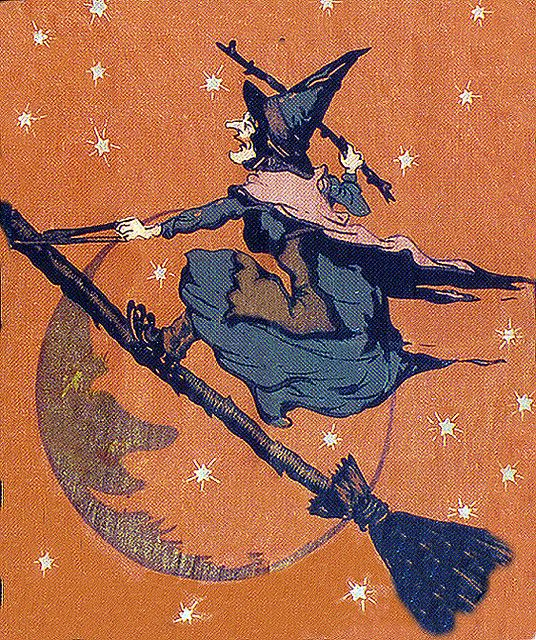halloween - now this makes more sense to ride a broom this way than to sit on it...