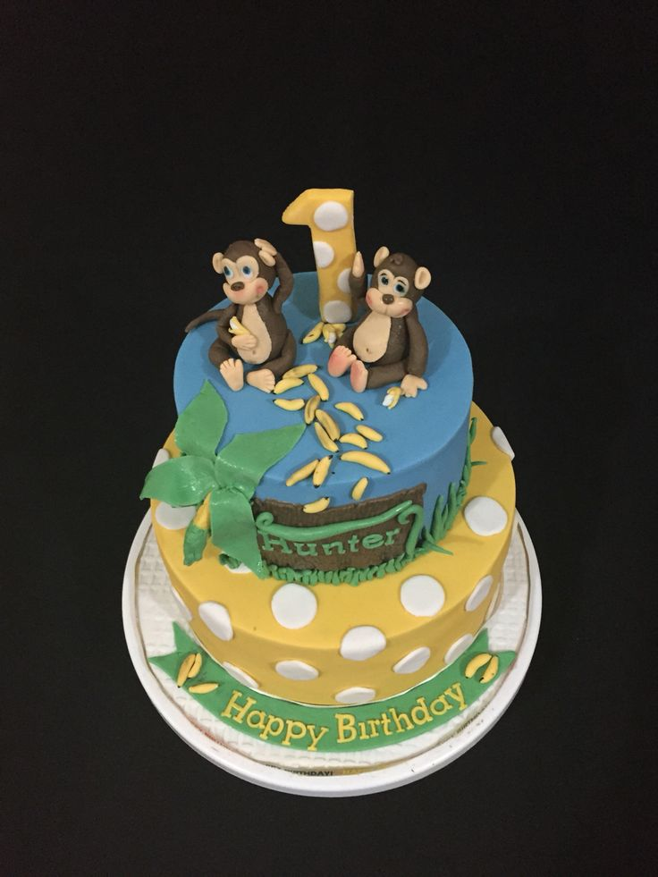 1st Birthday Monkey theme Cake
