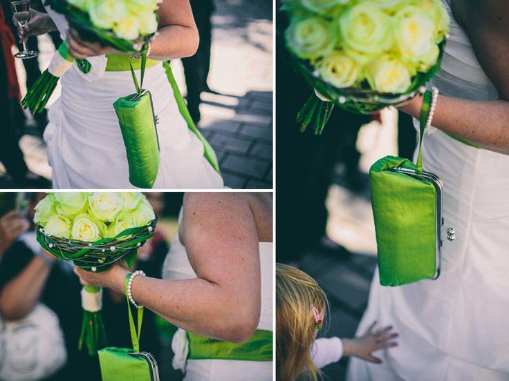 Brauttasche aus Seide in grün