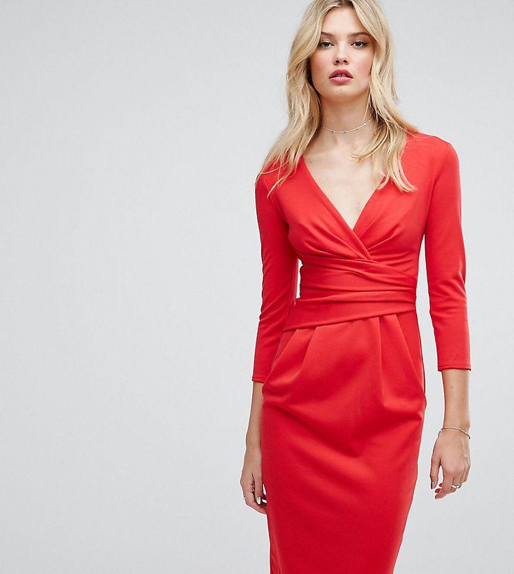City Goddess tall 3/4 Sleeve Pleat Detail Midi Dress - Red