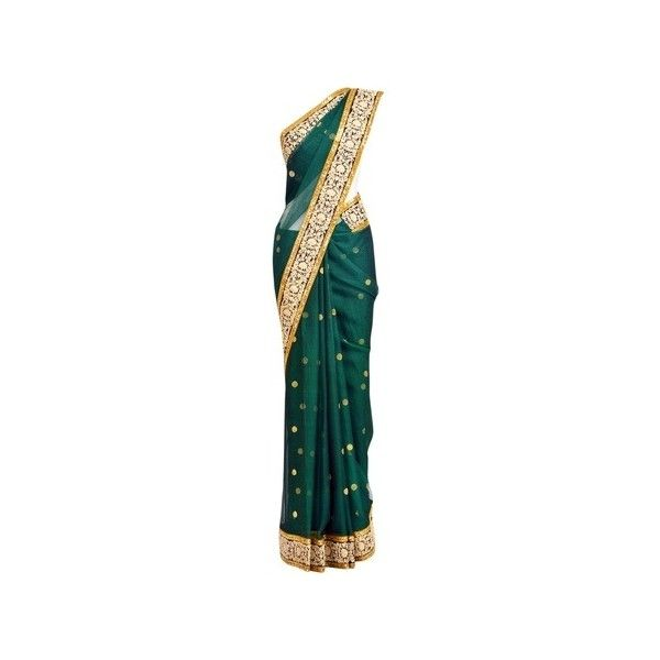 Sabyasachi Sarees ❤ liked on Polyvore featuring dresses, sari, gowns, indian, sabyasachi, green dress and indian dresses
