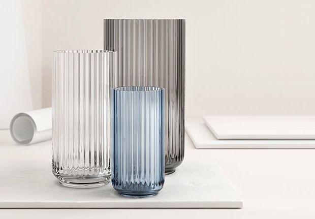 Lyngby Porcelain, Denmark, ribbed vases now in glass.  Dove Blue.