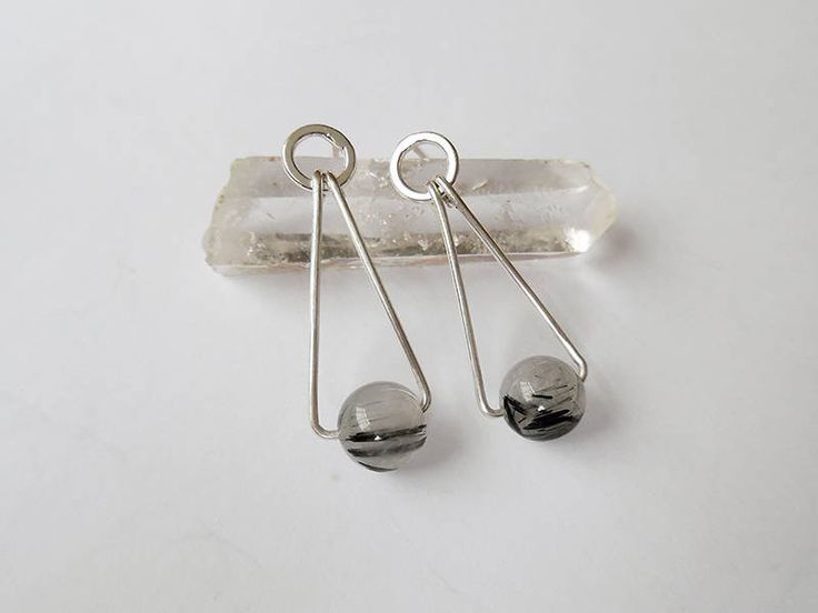 Sterling silver Beaded Earrings, Triangle Stud Earrings, Drop Earrings, Ring Stud Earrings, Rutilated Quartz Long Dangle Earrings, Handmade by crocusjewellery on Etsy