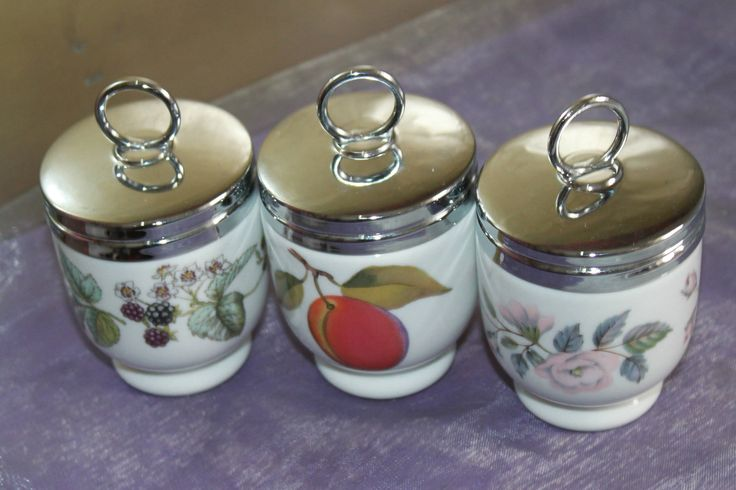 Trio of Egg Coddlers in June Garland, Evesham Fruit and Lavina Brambles  by Royal Worcester of England. by AtticBazaar on Etsy