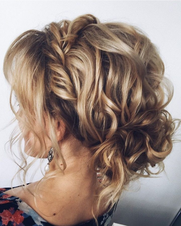 gorgeous braid with messy updo wedding hairstyle inspiration