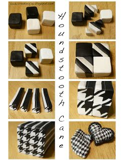 Creator's Joy: Polymer clay houndstooth cane tutorial - Fimo, Cernit et accessoires : http://www.creactivites.com/236-pate-polymere