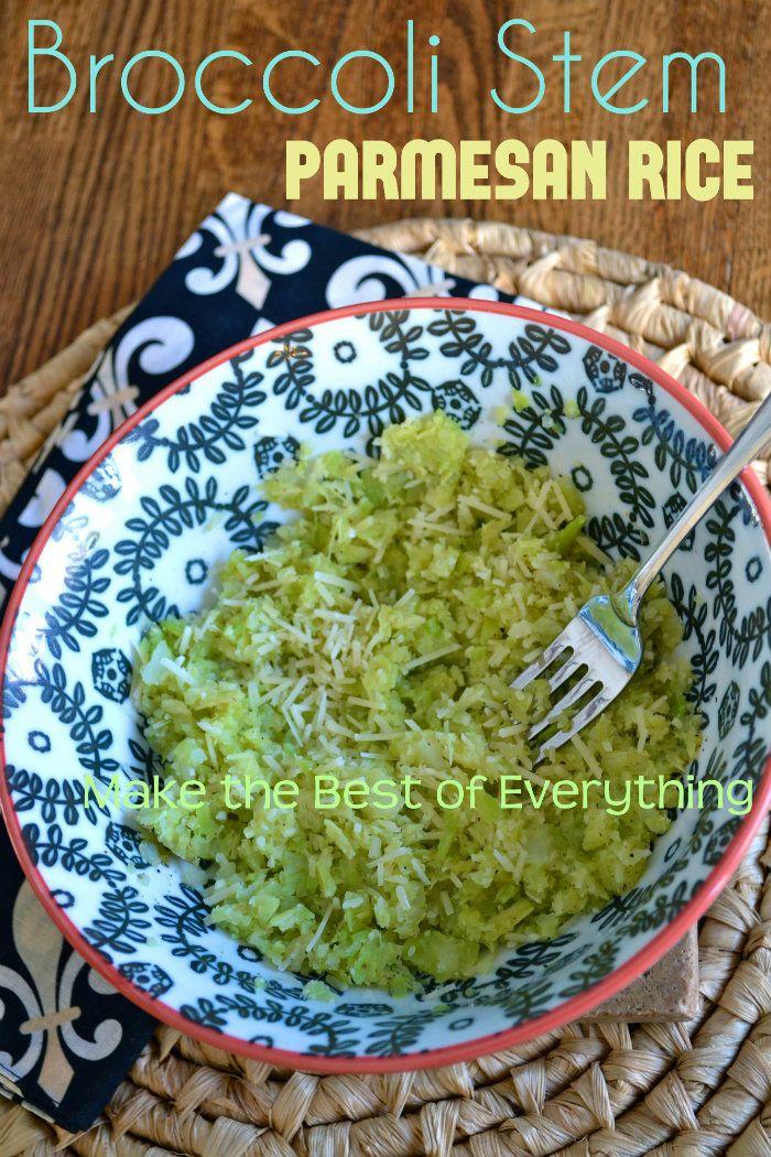 Broccoli Stem Parmesan Rice. A Fun Low Carb Recipe.