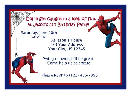 spiderman invitations free printable