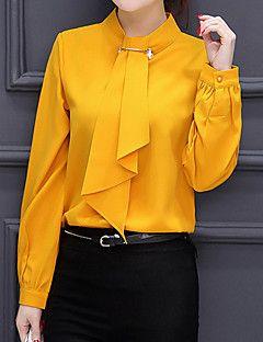 Mujer Simple Bonito Chic de Calle Formal Trabajo Boda Primavera Otoño Blusa,Escote Chino Un Color Manga Larga Otro Rojo Blanco Amarillo