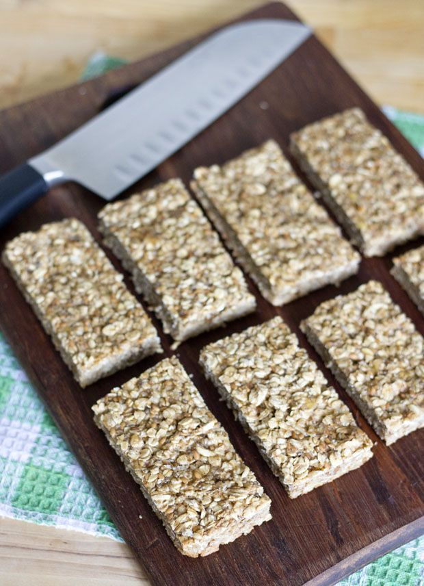 Banana Bread Granola Bars  ingredients:  1 very ripe banana, mashed  1/4 cup unsweetened applesauce  2 tbsp honey  1 egg white  1 tsp cinnamon  1/2 tsp vanilla extract  1/2 tsp salt  3 tbsp + 1 tsp brown sugar  2 cups rolled oats  2 tbsp flax seeds  1 tsp chia seeds    directions:  Preheat oven to 350 degrees and spray an 8x8 baking dish with non-stick spray.    Combine the banana, applesauce, honey, egg white, cinnamon, vanilla extract, salt, and agave