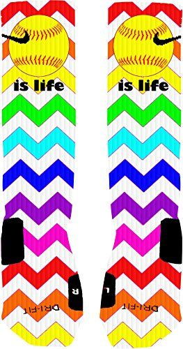 Softball is Life Rainbow Chevron Custom Nike Elite Socks (Large 8-12) Nike-Decorated by Nikki Apparel