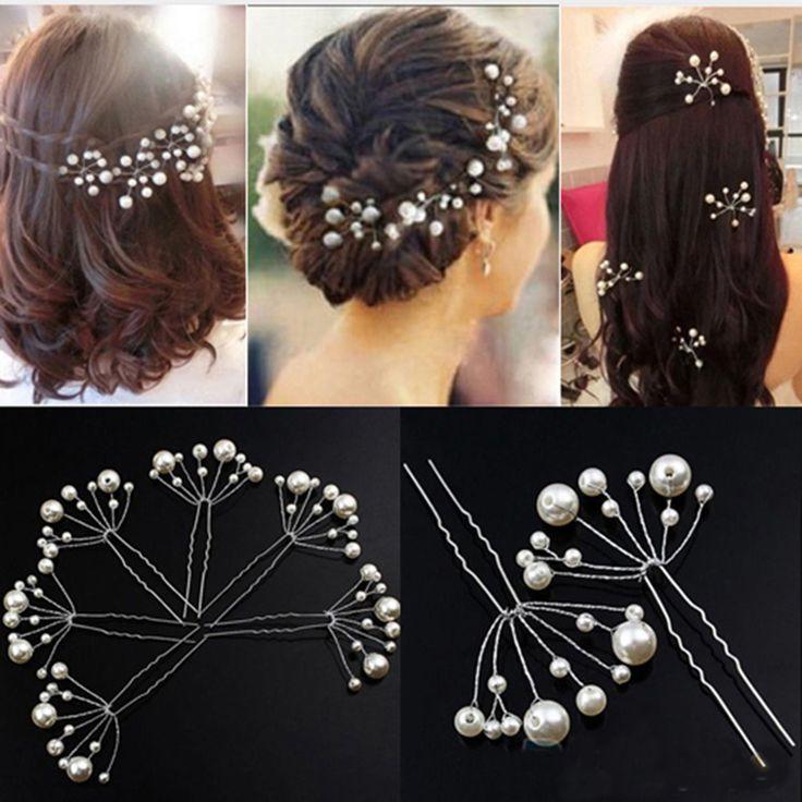 5 Stücke Simulieren Perle Haarnadeln Frisuren Hochzeit Braut Haarnadeln Schmuck…