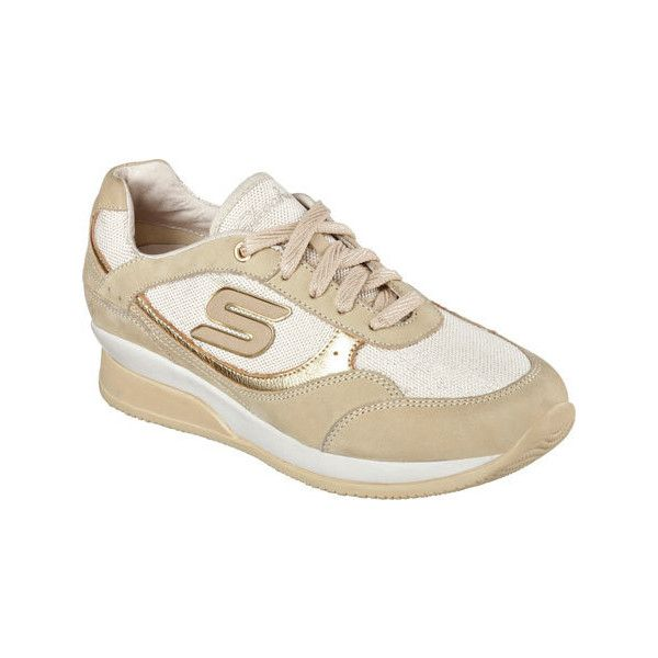 Women's Skechers Wedge Fit Vita Sneaker - Gold Casual ($62) ❤ liked on Polyvore featuring shoes, sneakers, casual, casual shoes, gold, wedge sneakers, wedges shoes, skechers sneakers, wedge heel sneakers and gold wedge sneakers