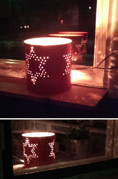 DIY tin can lantern for christmas. Fill an empty tin can with water and put it in the freezer. Leave it until the water has frozen into solid ice. Don't fill the can to the top, since water expands while freezing! Use a nail and a hammer to make the pattern you wish for your lantern. If you want to mark out the pattern, use a felt pen that isn't water-soluble... Tip; there will be some ice splashing; it's a good idea to put the tin can on a towel. Spray color as you wish. All done!