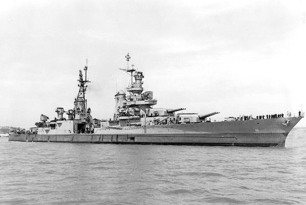 "26 Jun 1945 - USS Indianapolis reached the island of Tinian in the South Pacific. Their mission was to unload the world's first atomic bomb, ""Little Boy,"" dropped 10 days later on the city of Hiroshima. Having completed their mission the Indianapolis headed to a rendezvous with the USS Idaho. Then at 12:15 a.m. on July 30 they were struck by two torpedoes, the second which hit fuel tanks and the ammunition magazine. The ship sunk in 12 minutes."
