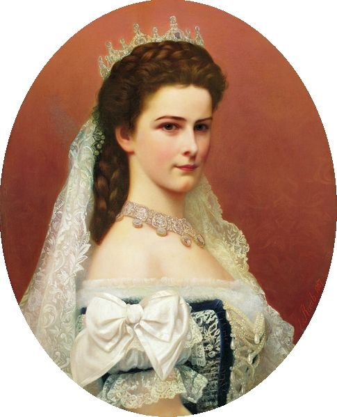 Georg Raab painted Sissi and her the gorgeous bodice of her Hungarian coronation gown in this oval portrait.