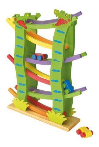 Dřevěné hračky - Dřevěná závodní dráha velká 4 autíčka
