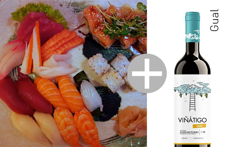 Unsere Fusion-Empfehlung: Sushi-Variation mit der Mineralität unseres Viñátigo Gual