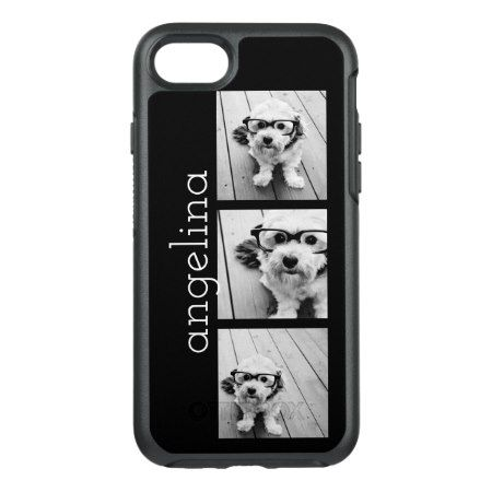 Trendy 3 Photos and Name - CHOOSE BACKGROUND COLOR OtterBox Symmetry iPhone 7 Case - tap, personalize, buy right now!