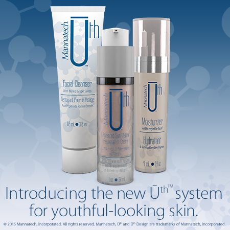 Introducing the new Ūth™ System with our Cleanser, Moisturizer and Rejuvenation Crème. View all three products online at http://us.mannatech.com/products/personal/. ‪#‎FountainofUth‬