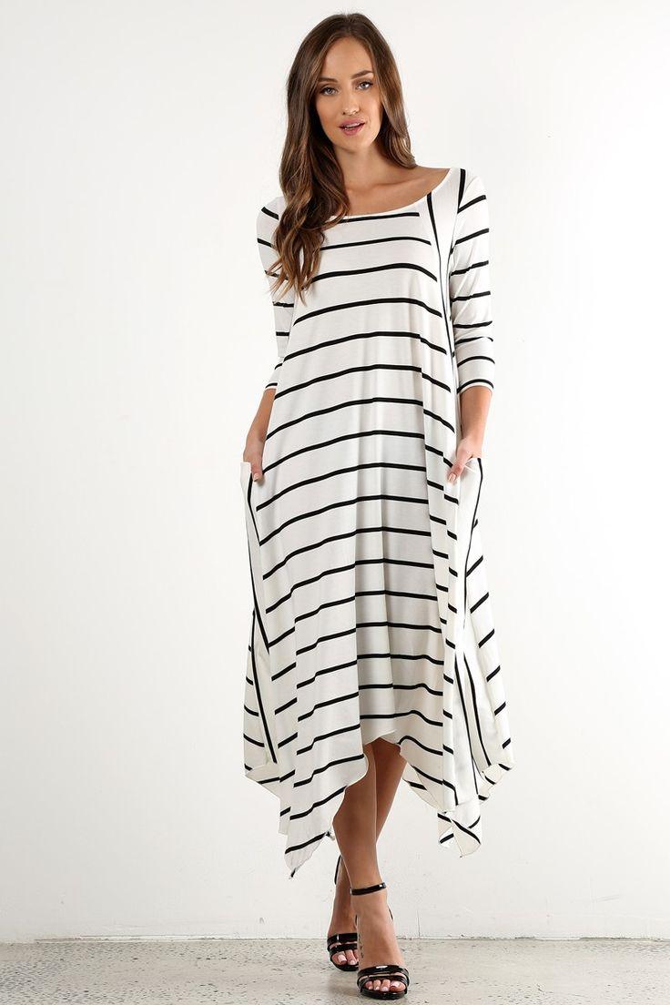 Морское длинное платье в полоску