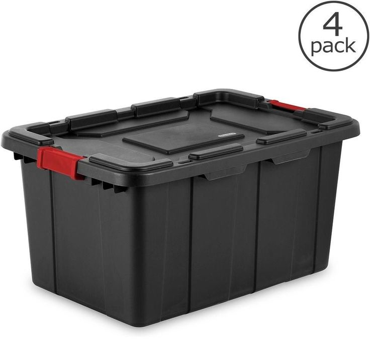 27-Gal. Industrial Stackable Tool Gear Home Storage Container Bin Tote (4-Pack) #Sterilite