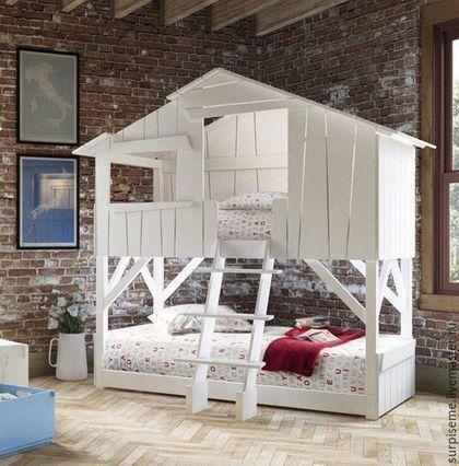 Мебель ручной работы. Ярмарка Мастеров - ручная работа. Купить Кровать чердак. Handmade. Белый, детская мебель с росписью