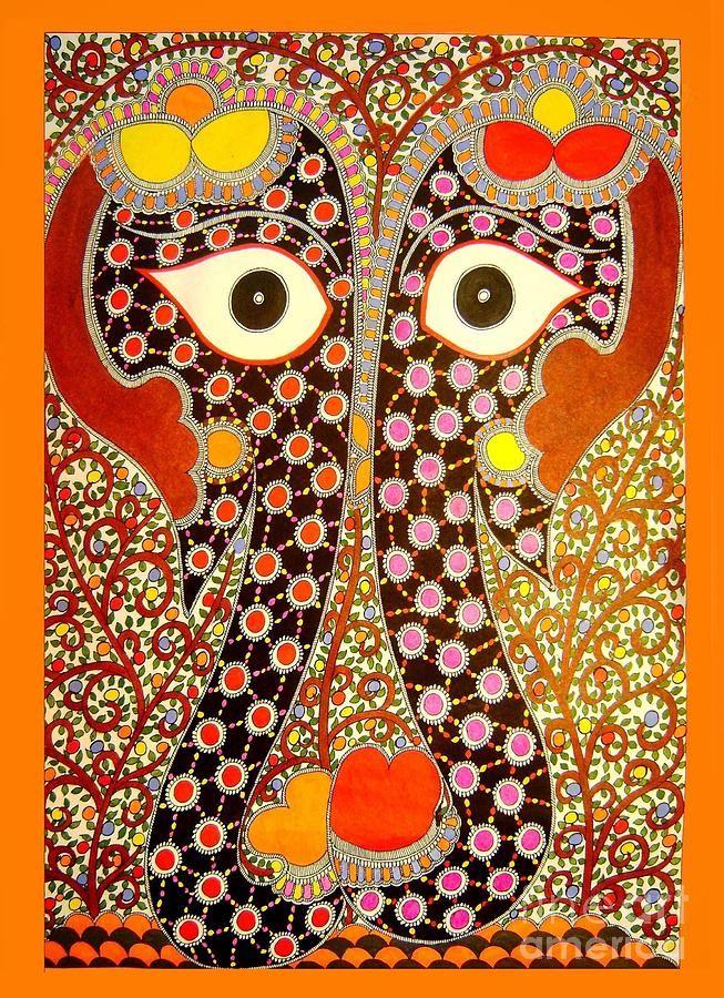 Elephant Pair-madhubani Paintings Canvas Print / Canvas Art by Neeraj kumar Jha